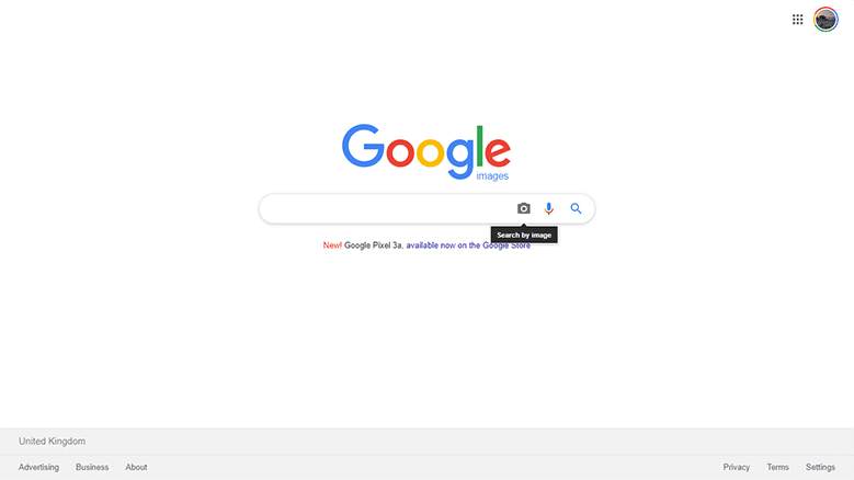 Screenshot of Google Images Search Page